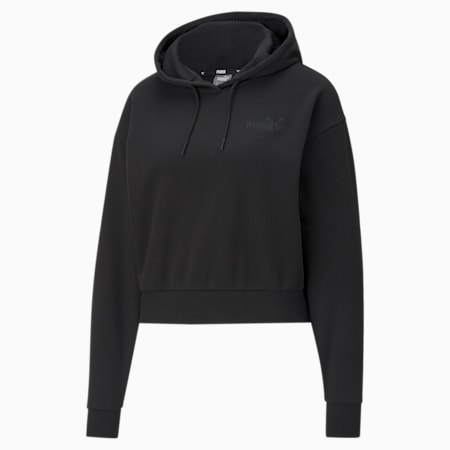 Essentials Embroidered Cropped Women's Hoodie, Puma Black, small-GBR