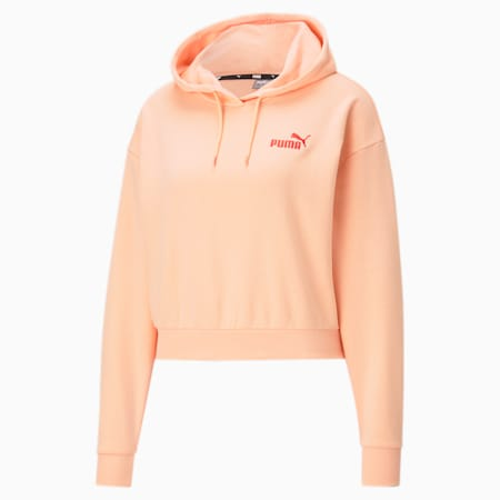 Essentials Embroidered Cropped Women's Hoodie, Apricot Blush, small-GBR