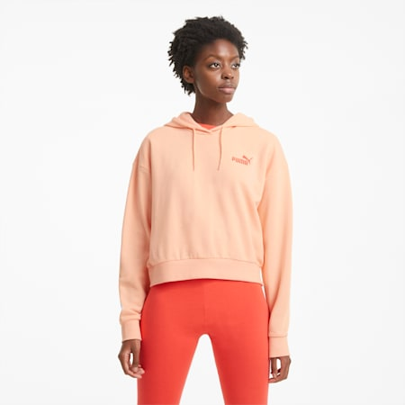 Essentials Embroidered Cropped Damen Hoodie, Apricot Blush, small