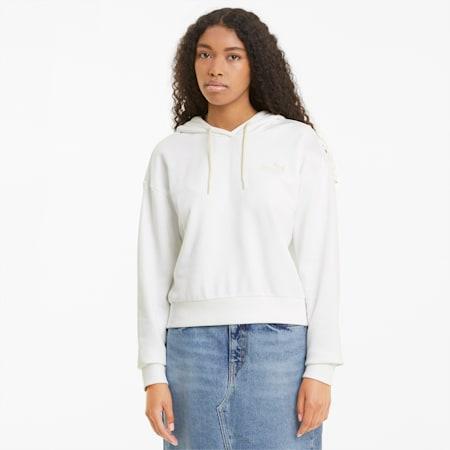 Damska krótka bluza z kapturem i haftowanym wzorem Essentials, no color, small