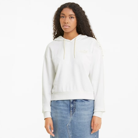 Essentials cropped dameshoodie met borduursels, no color, small