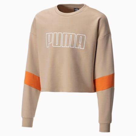 Mädchen Sweatshirt mit Rundhals, Sesame, small