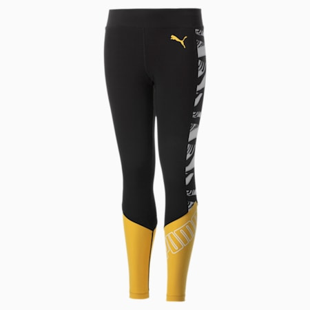Girls' Leggings, Ceylon Yellow-Puma Black, small