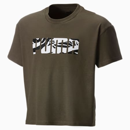 Mädchen T-Shirt, Olive Night, small