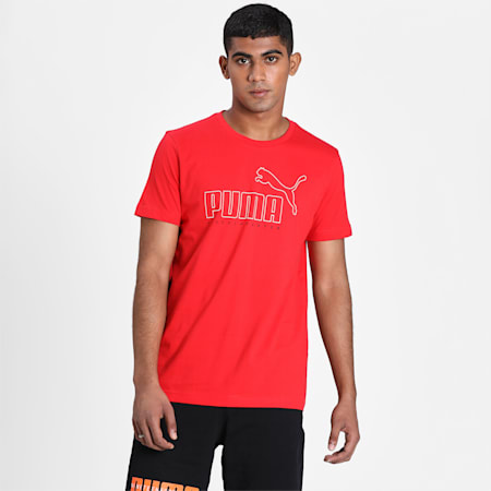 PUMA Outline Men's T-Shirt, High Risk Red, small-IND