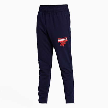 PUMA Worldwide Graphic Men's Pants, Peacoat, small-IND