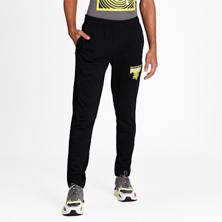 PUMA Worldwide Graphic Men's Pants, Puma Black, small-IND