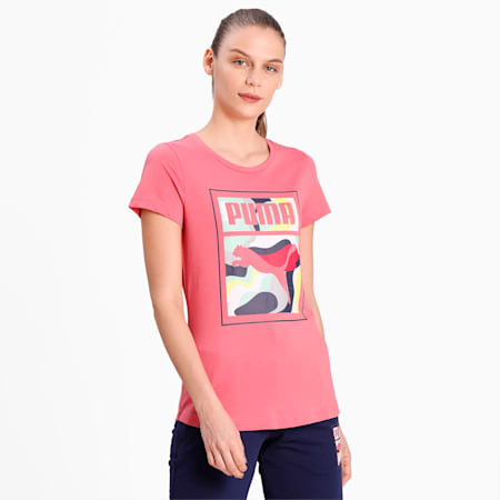 PUMA Box Graphic Women's T-Shirt, Rapture Rose, small-IND