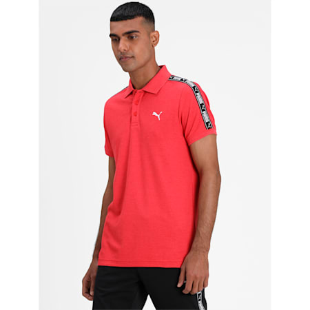 Tape Pique Men's Polo, High Risk Red Heather, small-IND