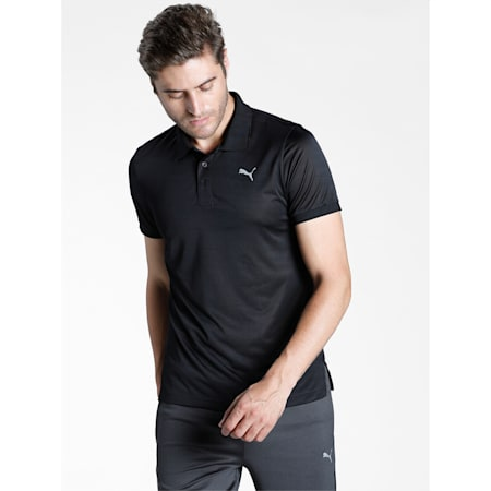 Active Polyester Slim Fit Men's Polo, Puma Black, small-IND