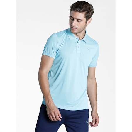 Active Polyester Slim Fit Men's Polo, Angel Blue Heather, small-IND