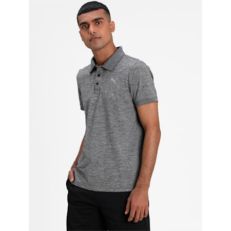 Active Polyester Slim Fit Men's Polo, Dark Gray Heather, small-IND