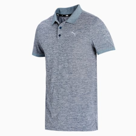 Active Polyester Slim Fit Men's Polo, Intense Blue Heather, small-IND