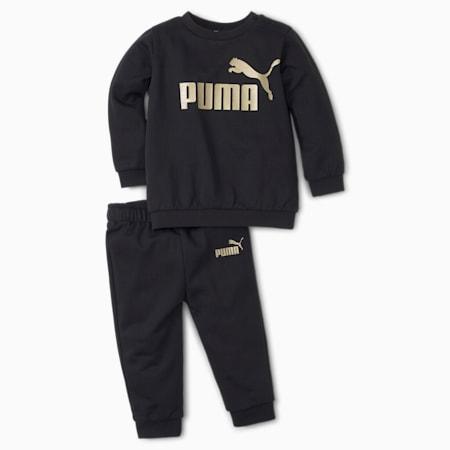 Essentials Minicats Crew Neck Babies' Jogger Set, Puma Black, small