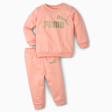 Essentials Minicats Crew Neck Babies' Jogger Set, Apricot Blush, small
