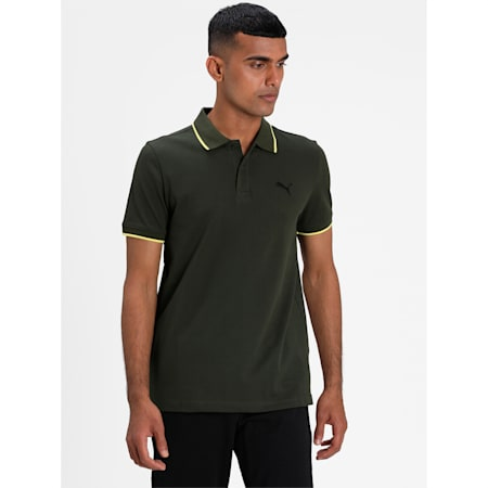 Collar Tipping Heather Slim Fit Men's Polo, Forest Night-Celandine, small-IND