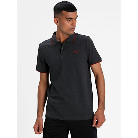 Collar Tipping Heather Slim Fit Men's Polo, Dark Gray Heather-Rhubarb, small-IND