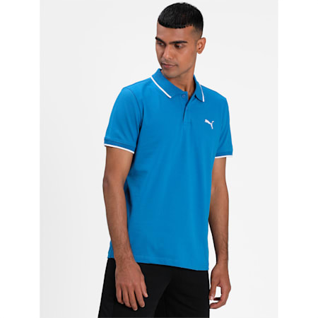 Collar Tipping Heather Slim Fit Men's Polo, Star Sapphire-Puma White, small-IND