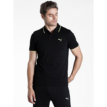 Collar Tipping Heather Slim Fit Men's Polo, Puma Black-Celandine, small-IND
