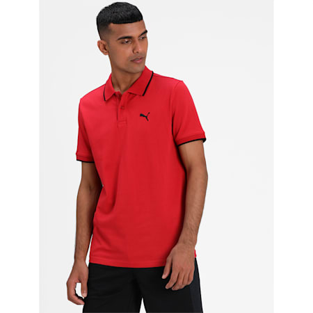 Collar Tipping Heather Slim Fit Men's Polo, American Beauty-Puma Black, small-IND
