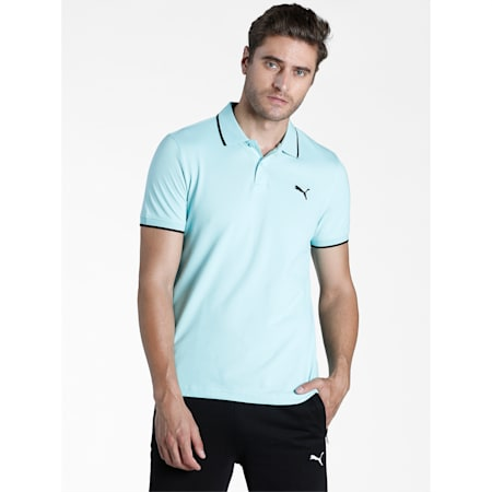 Collar Tipping Heather Slim Fit Men's Polo, Angel Blue-Puma Black, small-IND