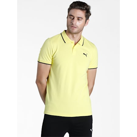 Collar Tipping Heather Slim Fit Men's Polo, Celandine-Puma Black, small-IND