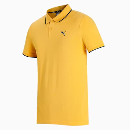 Collar Tipping Heather Slim Fit Men's Polo, Mineral Yellow, small-IND