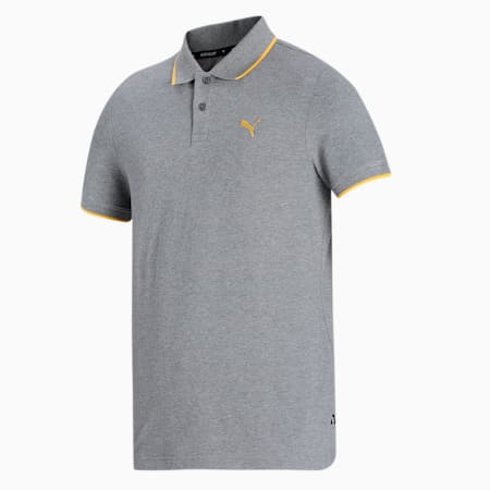 Collar Tipping Heather Slim Fit Men's Polo, Medium Gray Heather, small-IND