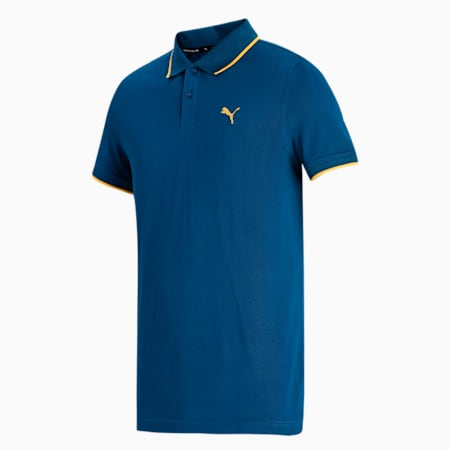 Collar Tipping Heather Slim Fit Men's Polo, Intense Blue, small-IND