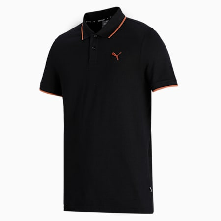 Collar Tipping Heather Slim Fit Men's Polo, Puma Black, small-IND