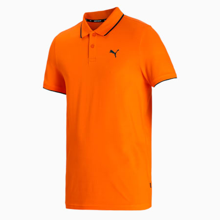 Collar Tipping Heather Slim Fit Men's Polo, Vibrant Orange, small-IND