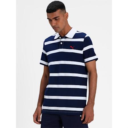 Stripe Men's Polo, Puma White-Peacoat, small-IND