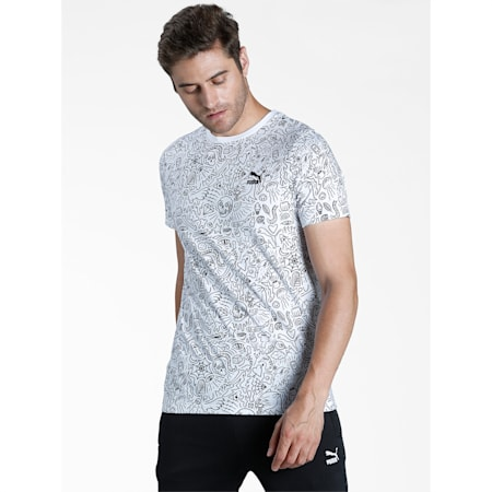 Graphic AOP Men's Slim T-Shirt, Puma White, small-IND