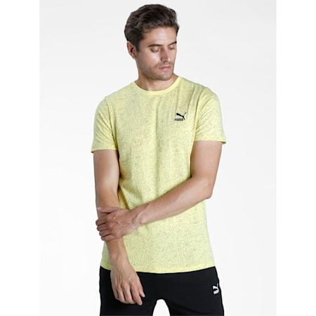 Graphic AOP Men's Slim T-Shirt, Celandine, small-IND