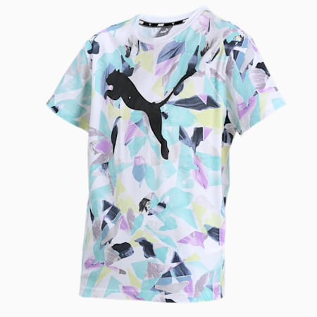 Women's AOP Relaxed T-Shirt, Puma White, small-IND