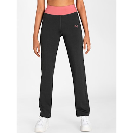 PUMA Straight Leg Women's Pants, Dark Gray Heather, small-IND