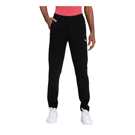 Zippered Knitted Men's Jersey Sweat Pants, Puma Black, small-IND