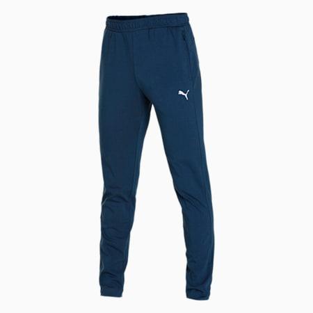 Zippered Knitted Men's Jersey Sweat Pants, Dark Denim, small-IND