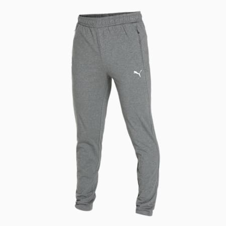 Zippered Knitted Men's Jersey Sweat Pants, Medium Gray Heather, small-IND