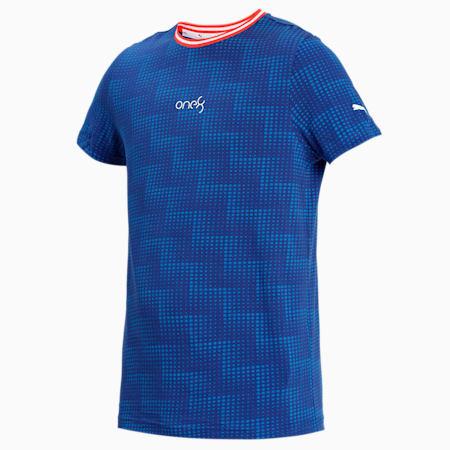 one8 Virat Kohli Men's AOP Slim T-Shirt, Elektro Blue, small-IND