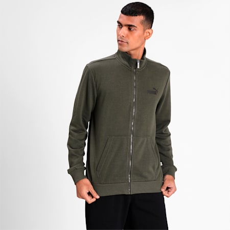 Essential Men's Long Sleeves Track Jacket, Forest Night, small-IND