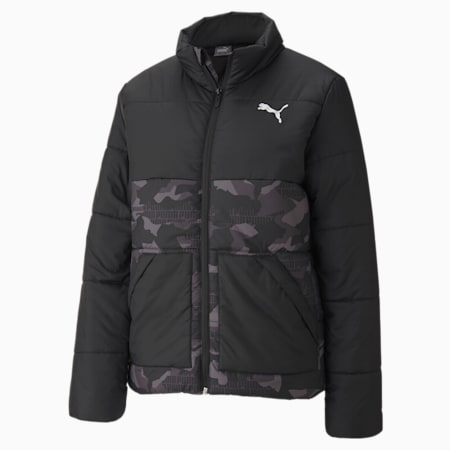 Essential+ Graphic Padded Women's Jacket, Puma Black, small-IND