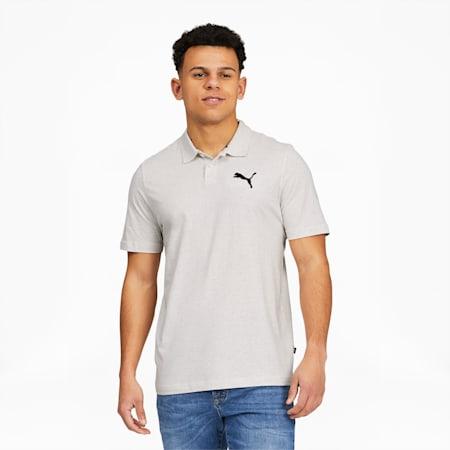 Camiseta tipo polo EssentialsHeather para hombre, Puma White Heather, pequeño