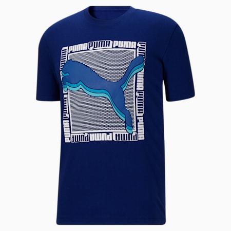 T-shirt carréIllusion, homme, Bleu Elektro, petit