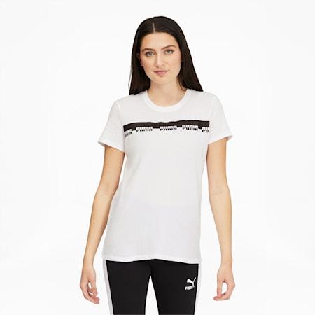 Camiseta Script para mujer, Puma White, pequeño