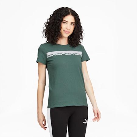Camiseta Script para mujer, Blue Spruce, pequeño
