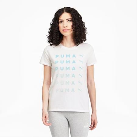 T-shirt PUMA Repeat, femme, Blanc Puma, petit