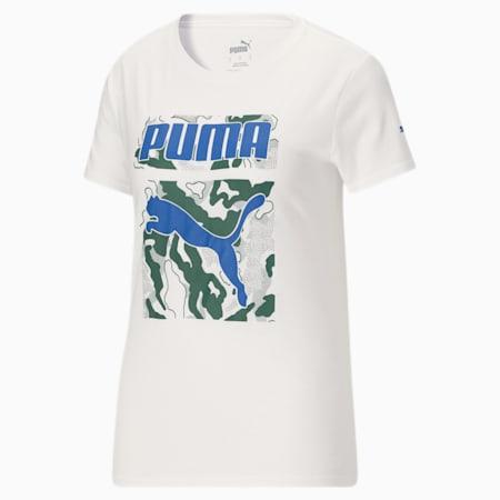 Camiseta con cuadrado camuflado en el frente para mujer, Puma White, pequeño