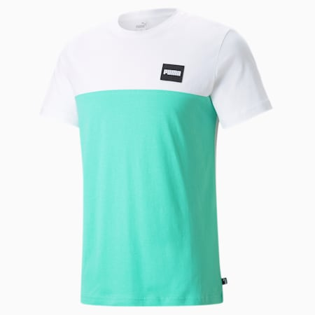 Men's Tee, Puma White-Biscay Green, small-GBR
