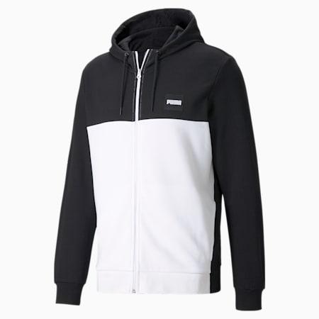 Full-Zip Men's Hoodie, Puma Black-Puma White, small-GBR